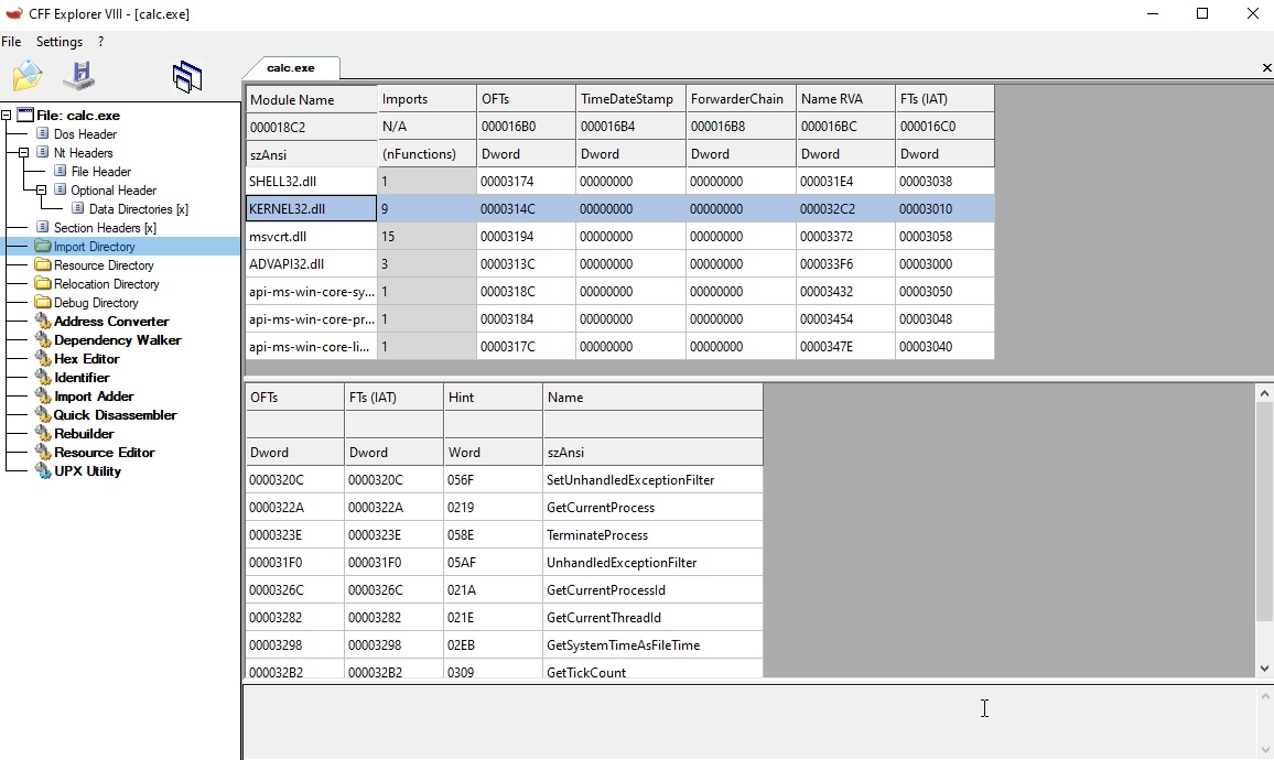import directory table
